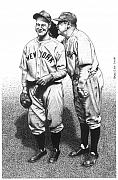 Lou Gehrig Drawings Originals - Babe Tells a Joke by Bruce Kay