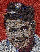 Slugger Mixed Media Metal Prints - Babr Ruth Puzzle Piece Mosaic Metal Print by Paul Van Scott
