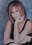 Singer Songwriter Paintings - Babs - Barbra Streisand by Cyndi Brewer