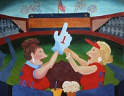 Rangers Paintings - Babs and Sally at the Game by Barbara Sutton