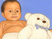 Nursery Pastels Posters - Baby and Bear Poster by Paula  Parker