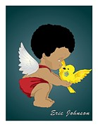 African-american Digital Art Prints - Baby Angel in Red Print by Jerome Johnson