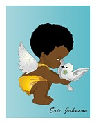 African-american Digital Art Prints - Baby Angel in Yellow Print by Jerome Johnson