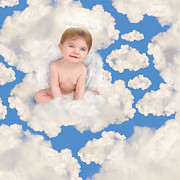 Angela Waye Prints - Baby Angel on Clouds in Sky Print by Angela Waye