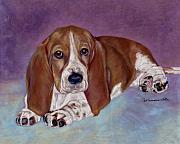 Dog Portraits Pastels Prints - Baby B. Print by Pat Saunders-White