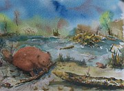 Beaver Pond Paintings - Baby Beaver I by Barbara McGeachen