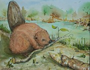 Beaver Pond Paintings - Baby Beaver II by Barbara McGeachen