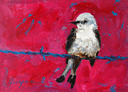 Baby Bird Painting Prints - Baby Bird on a wire Print by Patricia Awapara