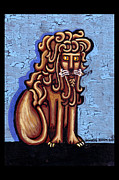 Byzantine Painting Posters - Baby Blue Byzantine Lion Poster by Genevieve Esson