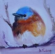 Bird On Tree Painting Prints - Baby Blue Print by Donna Tuten