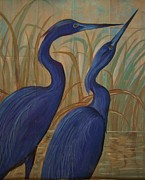 Acrylic On Wood Framed Prints - Baby BLue Herons Framed Print by Teresa Grace Mock