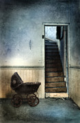 Wooden Stairs Posters - Baby Buggy in Abandoned House Poster by Jill Battaglia