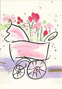Flood Drawings Posters - Baby Buggy Note Card Poster by Darlene Flood