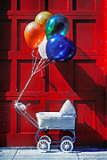 Red Door Posters - Baby buggy with balloons  Poster by Garry Gay