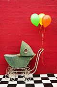 Balloons Framed Prints - Baby buggy with red wall Framed Print by Garry Gay