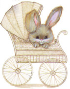 Baby Carriage Paintings - Baby Bunny Buggy by Linda Crockett