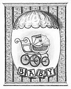Pen Drawings Drawings Framed Prints - Baby Carriage Framed Print by Adam Zebediah Joseph