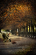 Baby Carriage With Toy Bear Alone On Street Print by Sandra Cunningham