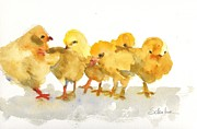 Art For Babies Prints - Baby Chicks Print by Miriam  Schulman