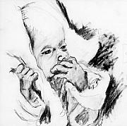 Pencil Sketch Drawings Prints - Baby Concern Print by Ron Bissett