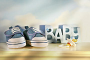 Pacifier Posters - Baby denim shoes Poster by Sandra Cunningham
