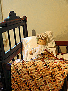 Old-fashioned Quilts Posters - Baby Doll in Crib Poster by Susan Savad