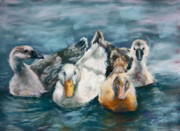 Ducks Pastels - Baby ducks and geese by Joan Wulff