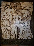 Elephant Pyrography Framed Prints - Baby Elephant Pyrographics on Paper Original by Pigatopia Framed Print by Shannon Ivins