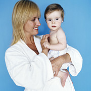 Bathrobe Photos - Baby Girl And Mother by Ian Boddy