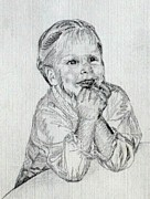 Angelic Drawings - Baby Girl at Table by Sheri Parris