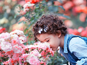 Curly Prints - Baby girl smelling pink roses Print by Gabriela Insuratelu