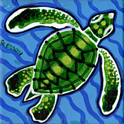 Sea Green Posters - Baby Green Sea Turtle Poster by Genevieve Esson