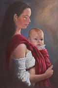 Mother Painting Originals - Baby In Rebozo by Harvie Brown