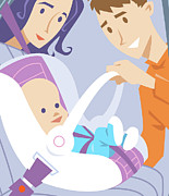 Togetherness Digital Art Prints - Baby In Safety Seat. Print by Harry Briggs