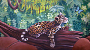 Wildcats Painting Framed Prints - Baby Jaguar Framed Print by Susan Kissinger