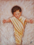 Little Boy Framed Prints - Baby Jesus Framed Print by Joni McPherson