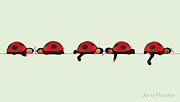 Down Photo Posters - Baby Lady Bugs Poster by Anne Geddes
