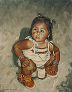 Indian Woman With Child Framed Prints - Baby Leah Framed Print by C Michael French