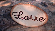 Sign Pyrography Framed Prints - Baby Love Framed Print by Dakota Sage