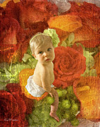 Orange Roses Prints - Baby Orange Roses  Print by MiMi  Photography