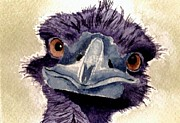 Ostrich Paintings - Baby Ostrich by Chris Martinez