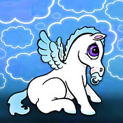 Unicorn Posters - Baby Pegasus with binky - Blue Poster by Lisa A Bello