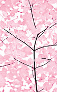 Soft Pink Posters - Baby Pink Leaves Melody Poster by Jennie Marie Schell