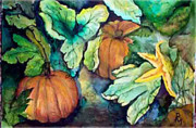 Pumpkins Paintings - Baby Pumpkins by Patricia Merewether