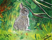 Bunny Paintings - Baby Rabbit by Renate Pampel