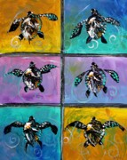 Original Art Posters - Baby Sea Turtles Six Poster by J Vincent Scarpace