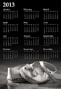 June Framed Prints - Baby shoes calendar 2013 Framed Print by Jane Rix