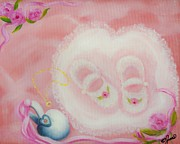Baby Paintings - Baby Shoes by Joni McPherson