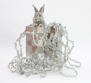 Fauna Metal Prints - Baby Silver Rabbit In A Gift Bag Metal Print by Mark Taylor
