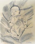 Sleeping Pastels Prints - Baby sleeping Print by Jose Valeriano